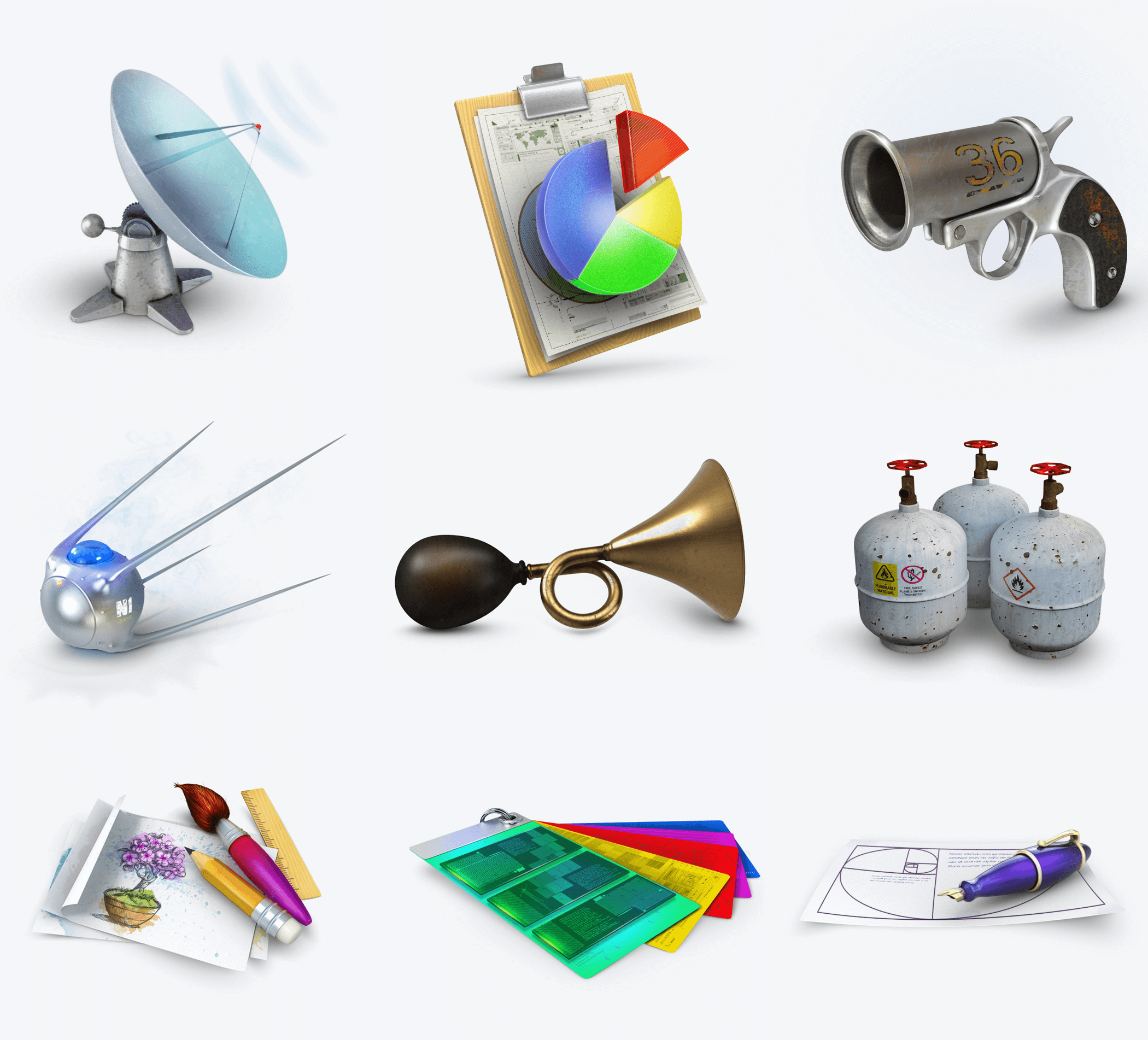3D icons for presentations, games, education applications