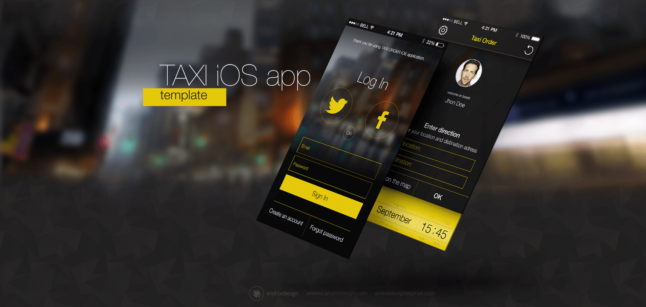 The Taxi mobile application design